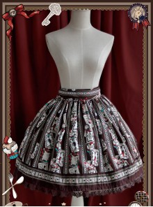 Rabbit Poker Series Brown Lace Classic Lolita Skirt
