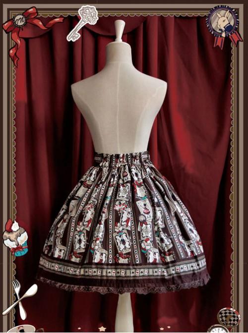 Rabbit Poker Series Brown Lace Classic Lolita Skirt