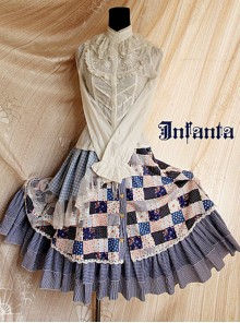 Green House's Anne Series Pastoral Style Black White Lattice Lolita Skirt