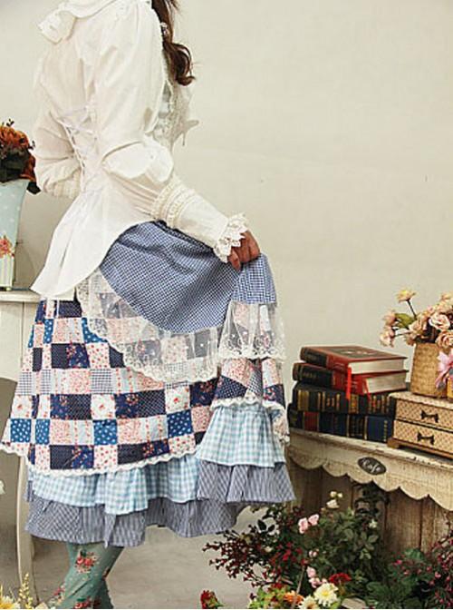 Green House's Anne Series Pastoral Style Black White Lattice Lolita Skirt