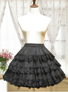 Cotton Black Lining Voile Lolita Skirt