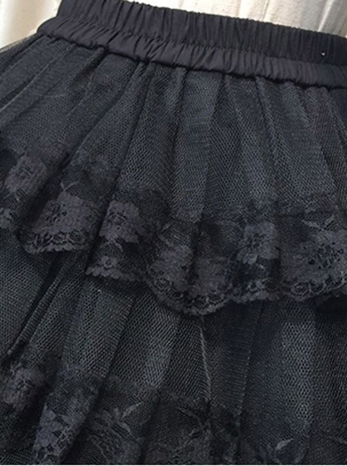 Cotton Black Lining Voile Lolita Skirt