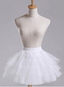 Above Knee Multilayer Petticoat White Voile Lolita Skirt