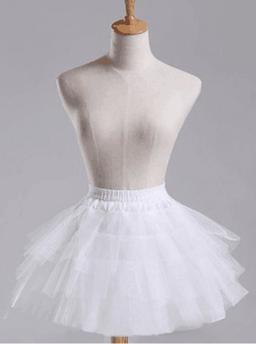 Above Knee Multilayer Petticoat White Voile Lolita Skirt