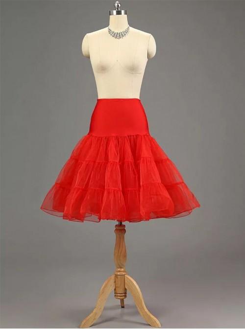 A-line Petticoat Retro Red Voile Lolita Skirt