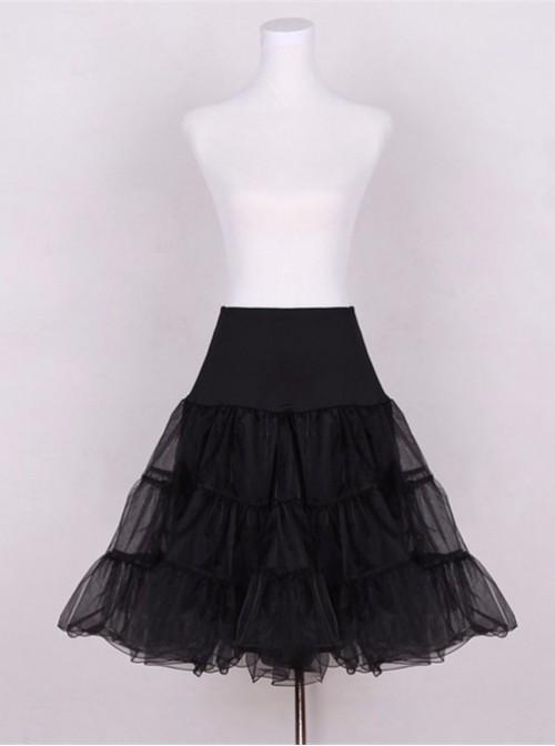 A-line Petticoat Retro Black Voile Lolita Skirt