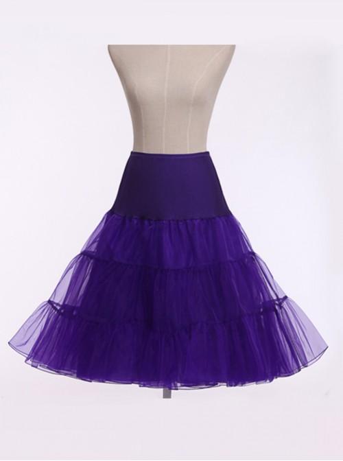 A-line Petticoat Retro Violet-blue Voile Lolita Skirt