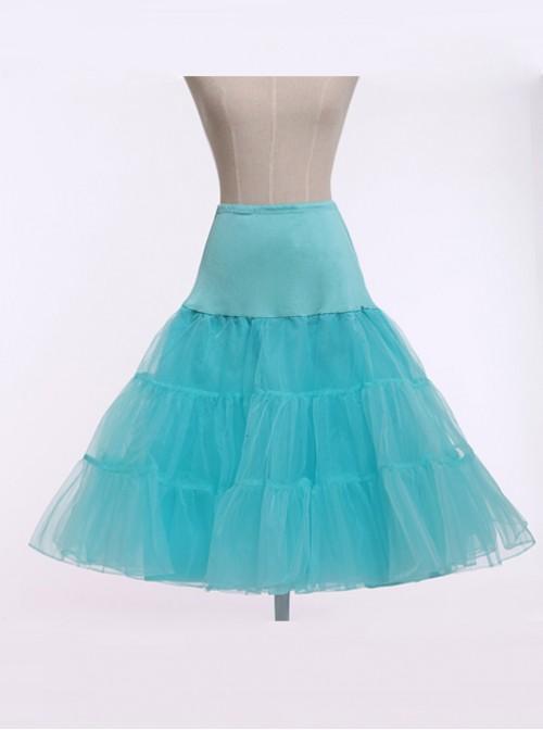 A-line Petticoat Retro Lake Blue Voile Lolita Skirt