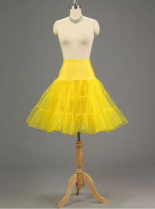 A-line Petticoat Retro Yellow Voile Lolita Skirt