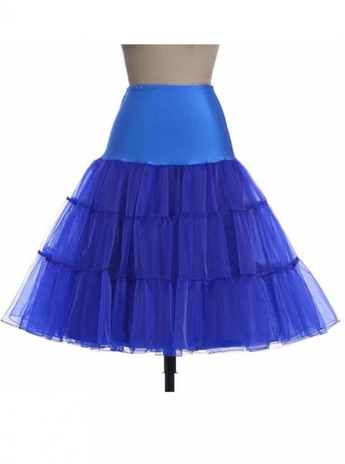 A-line Petticoat Retro Blue Voile Lolita Skirt