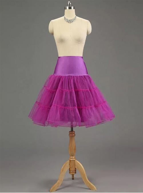 A-line Petticoat Retro Purple Voile Lolita Skirt