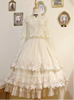 My First Love Long Version Beige Lace Embroidery Classic Lolita Skirt