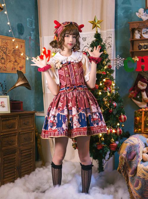 The Royal Teddy Bear Band Sweet Lolita Shoulder Straps Hooded Skirt