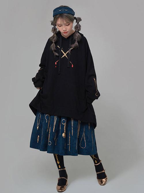 Bronze Surgical Equipment Vintage Navy Blue Classic Lolita Skirt