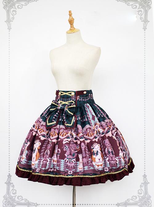 Chocolate Bears Chess Sweet Lolita Skirt