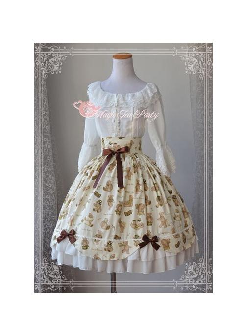 Teddy Bear's Daily Life Light Yellow Sweet Lolita Skirt