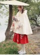 Chinese Style Woolen Plum Blossom Embroidery Pleated Long Skirt
