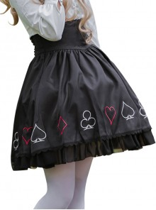 Black Retro Poker High Waist Lolita Skirt