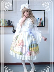 The Lark Song Series High Waist Oil Painting Retro Classic Lolita Skirt