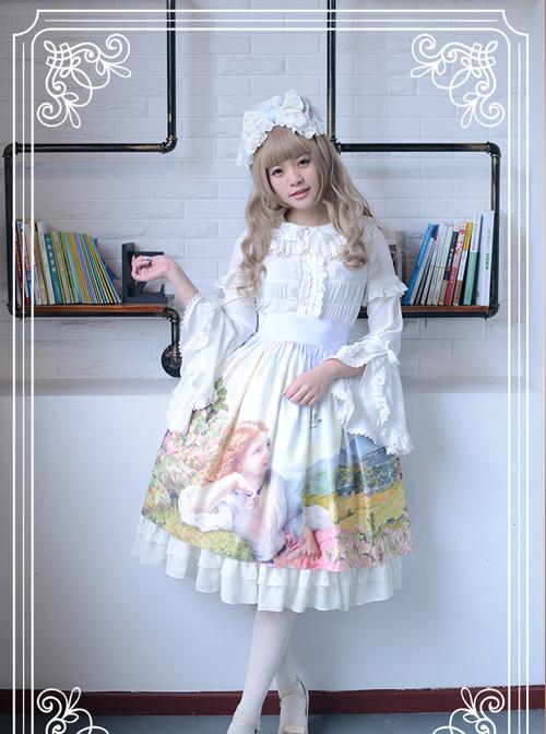 The Lark Song Series High Waist Oil Painting Retro Classic Lolita Skirt