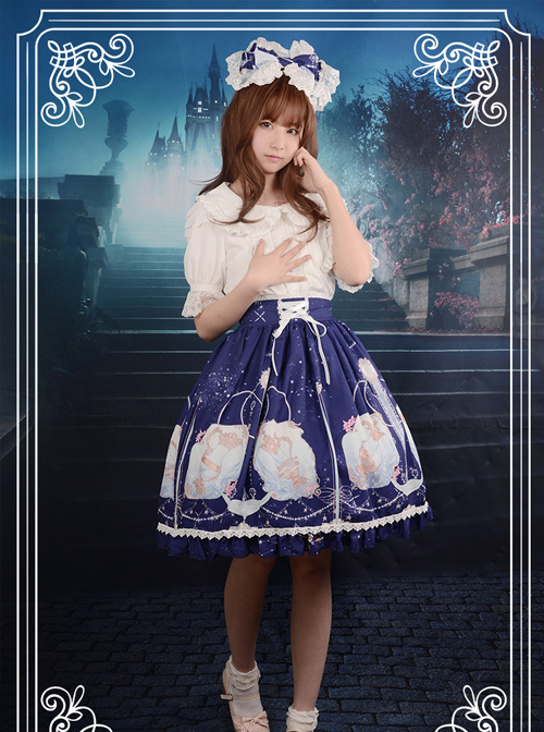 Starry Sky Aquarius Chiffon Printing Lace-up Classic Lolita Skirt