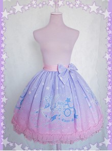 Dreamy Starry Night Series Gradient Printing Sweet Lolita Skirt