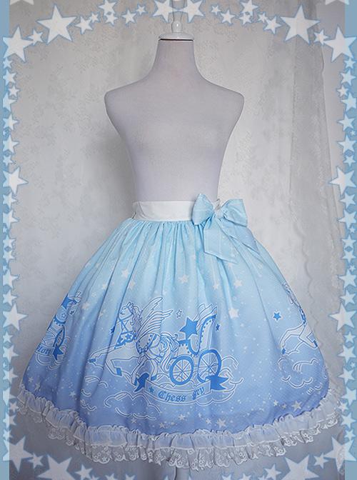 Dreamy Starry Night Series Gradient Printing Sweet Lolita Skirt