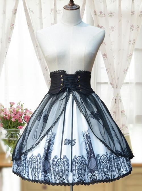Retro High Waist Crucifix Printing Lolita Skirt