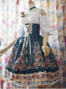 Surface Spell- Alps Rose Series High Waist Fish-bone Classic Lolita Skirt