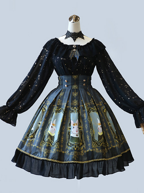 Retro Printing Palace Style High Waist Classic Lolita Skirt