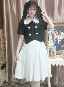 College Style Pure White Lolita Pleated Skirt