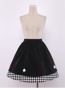 Cute Poker Embroidery Lolita Plaid Splicing Skirt