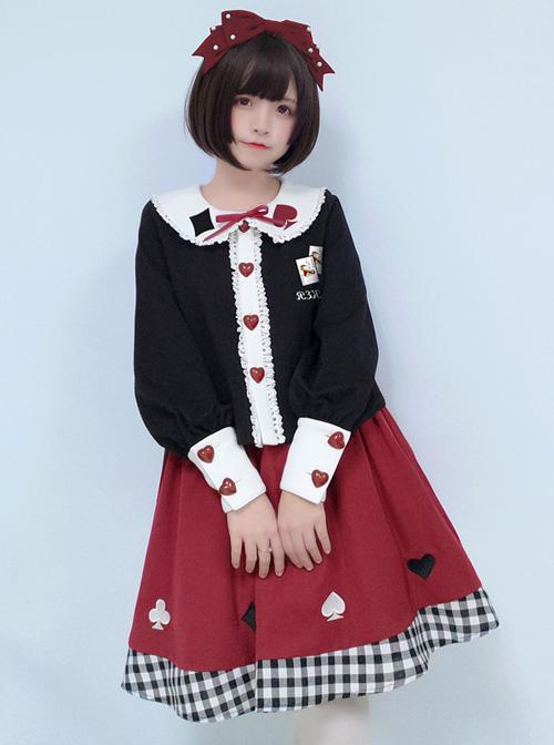 Cute Poker Embroidery Lolita Plaid Splicing Skirt