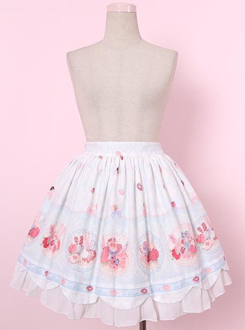 Donut Rabbit Printing Sweet Lolita Skirt