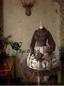 Magic Tea Party Raven And Writing-desk Series Printing High Waist Classic Lolita Skirt