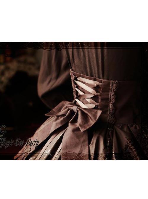 Magic Tea Party Raven And Writing-desk Series Printing High Waist Classic Lolita Skirt