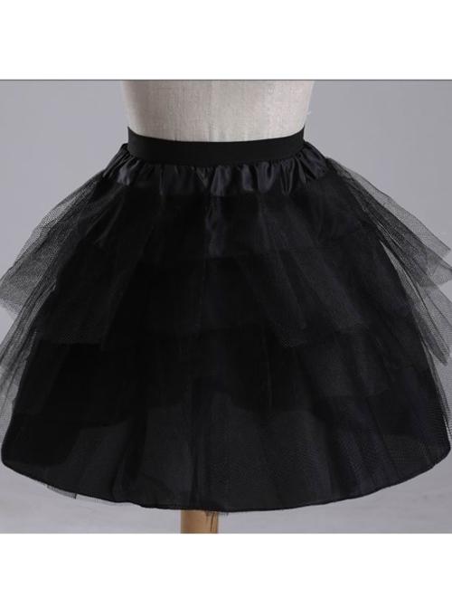 Above Knee Multilayer Black Yarn Lolita Dress Petticoat