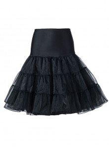 Knee Length Black Yarn Multilayer Lolita Dress Petticoat