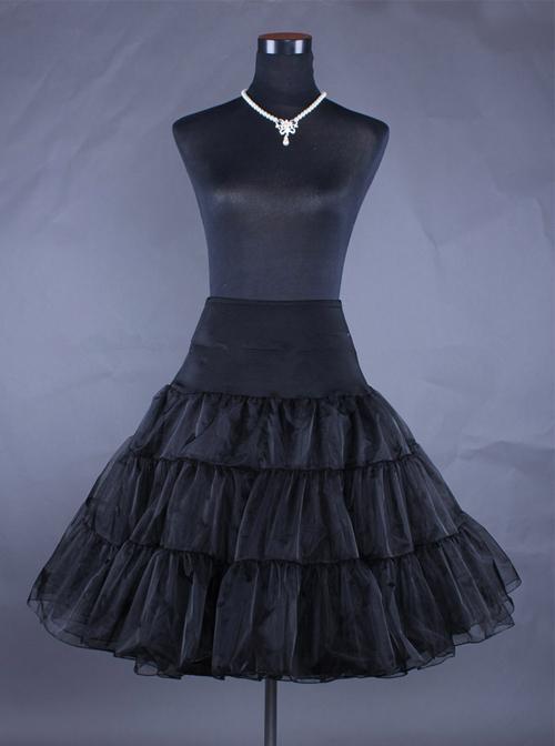 Knee Length Black Yarn Multilayer Lolita Dress Petticoat