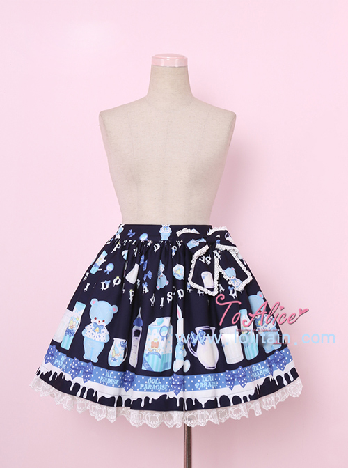 Baby Bottle Bear Series Printing Bowknot Sweet Lolita Skirt