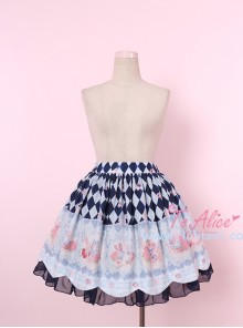 Donut Rabbit Series Printing Bowknot Petal Lower Hem Sweet Lolita Skirt
