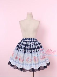Donut Rabbit Series Printing Bowknot Petal Lower Hem Sweet Lolita Skirt
