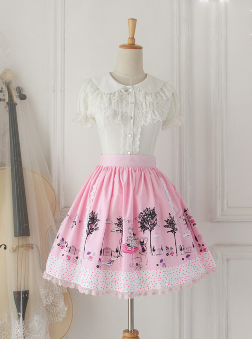 Pussy Afternoon Tea Series Pink Sweet Lolita Skirt