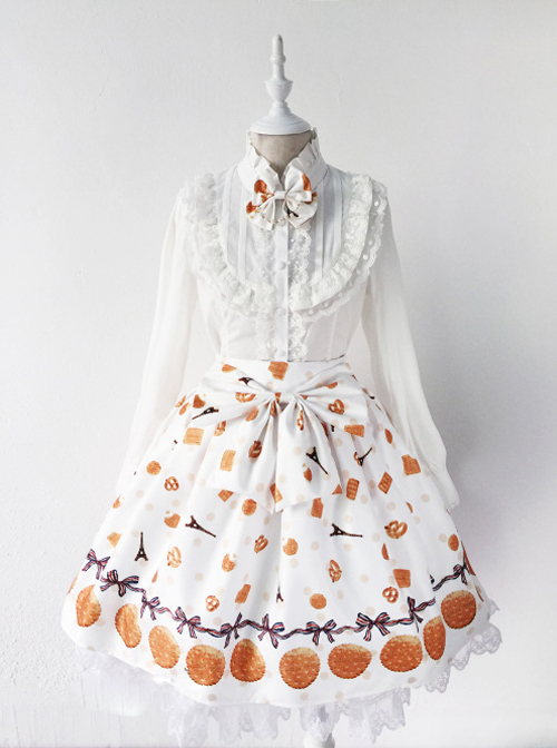 Fashion Paris Tower And Biscuit Series Printing Sweet Lolita Skirt