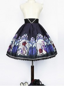 Beauty the Rose Series Printing Purple Gothic Lolita Skirt