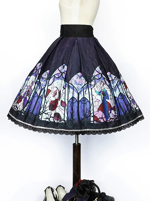 Beauty the Rose Series Printing Purple Gothic Lolita Skirt