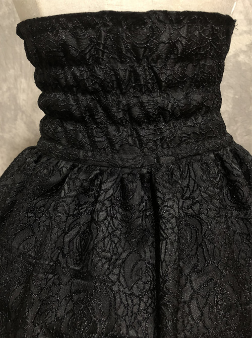 Gothic Black High Waist Lace-up Multi Layer Skirt