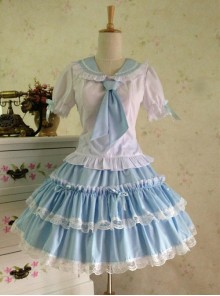 College Style  Sweet Lolita Sailor Shirt And Skirt Set