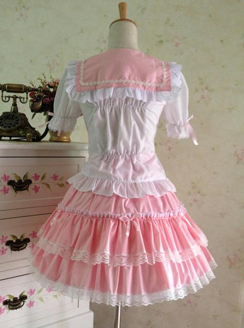 College Style  Sweet Lolita Sailor Shirt And Skirt Set