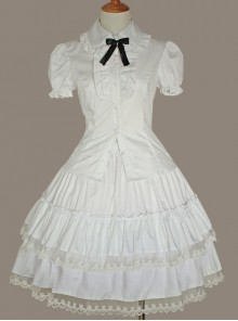 White Lace Cake Skirt Cute Lolita Shirt And Petticoat Set